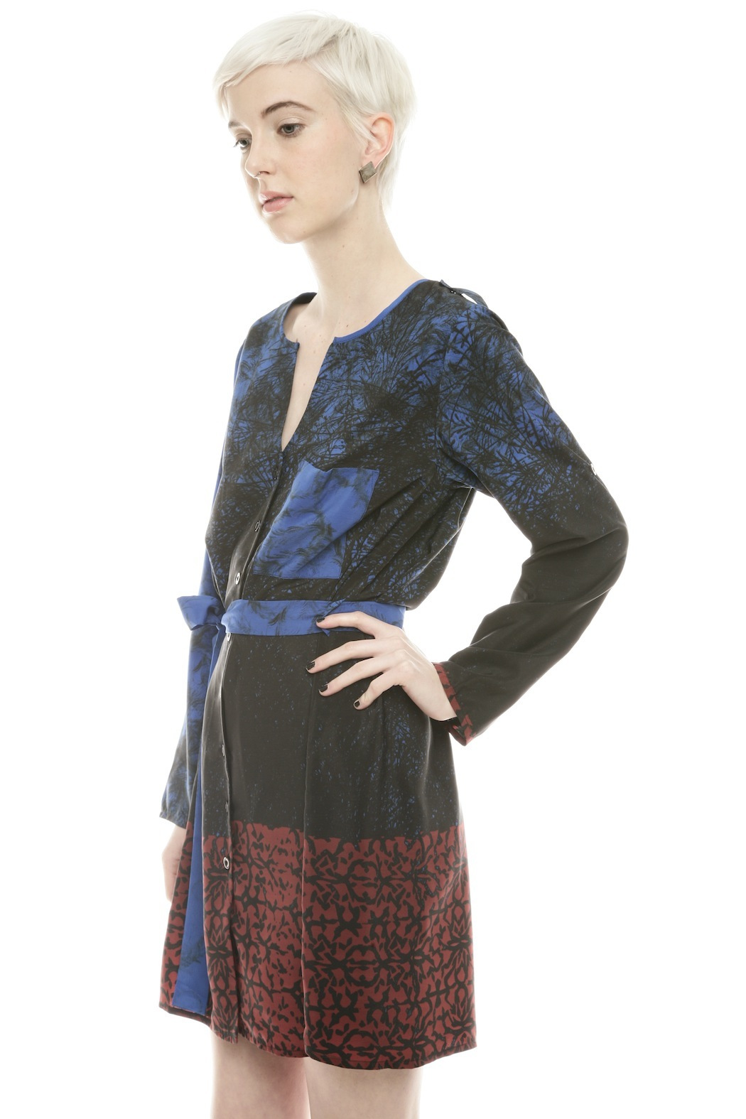 NU Button Belted Dress - Side Cropped Image