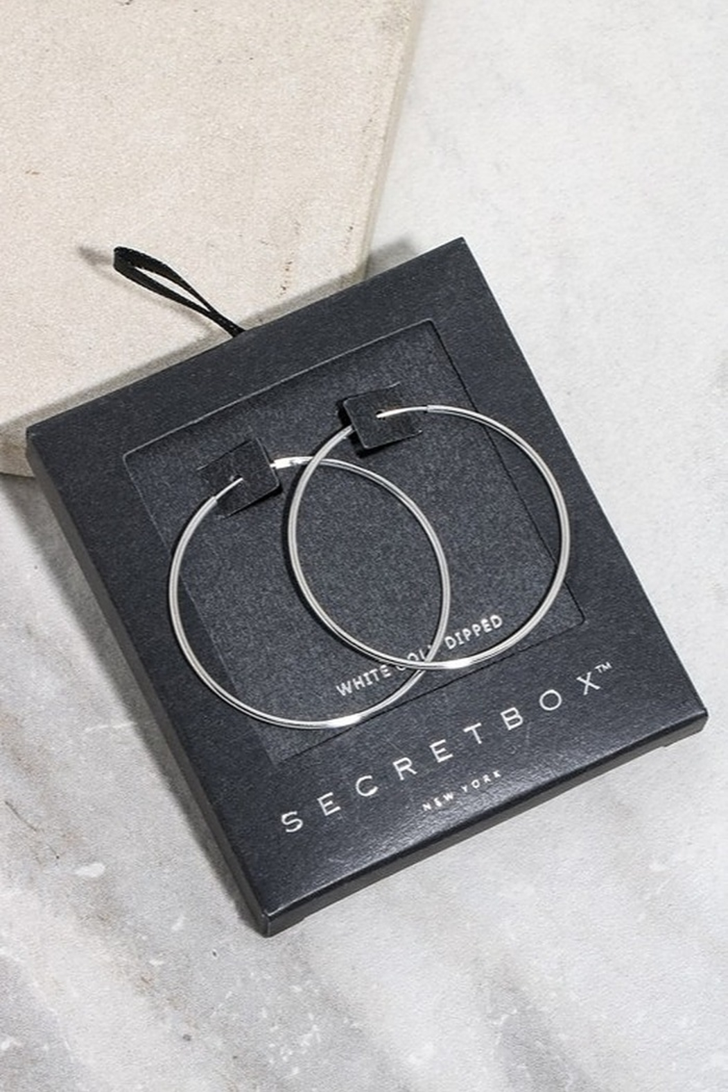 Secret Box 40mm Hoop Earrings - Front Cropped Image