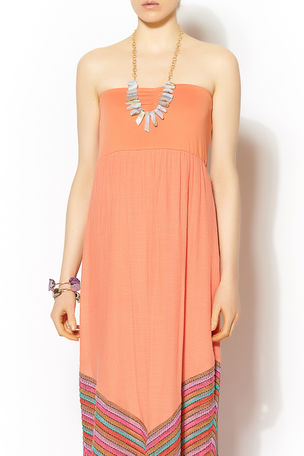 Missy Robertson Coral Chevron Detail Maxi - Side Cropped Image
