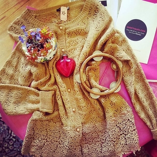 Chic Lace Cuffed Cardigan - Instagram Image