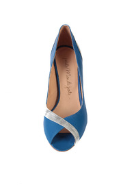 Petite Mendigote Blue and Silver Heels - Front full body