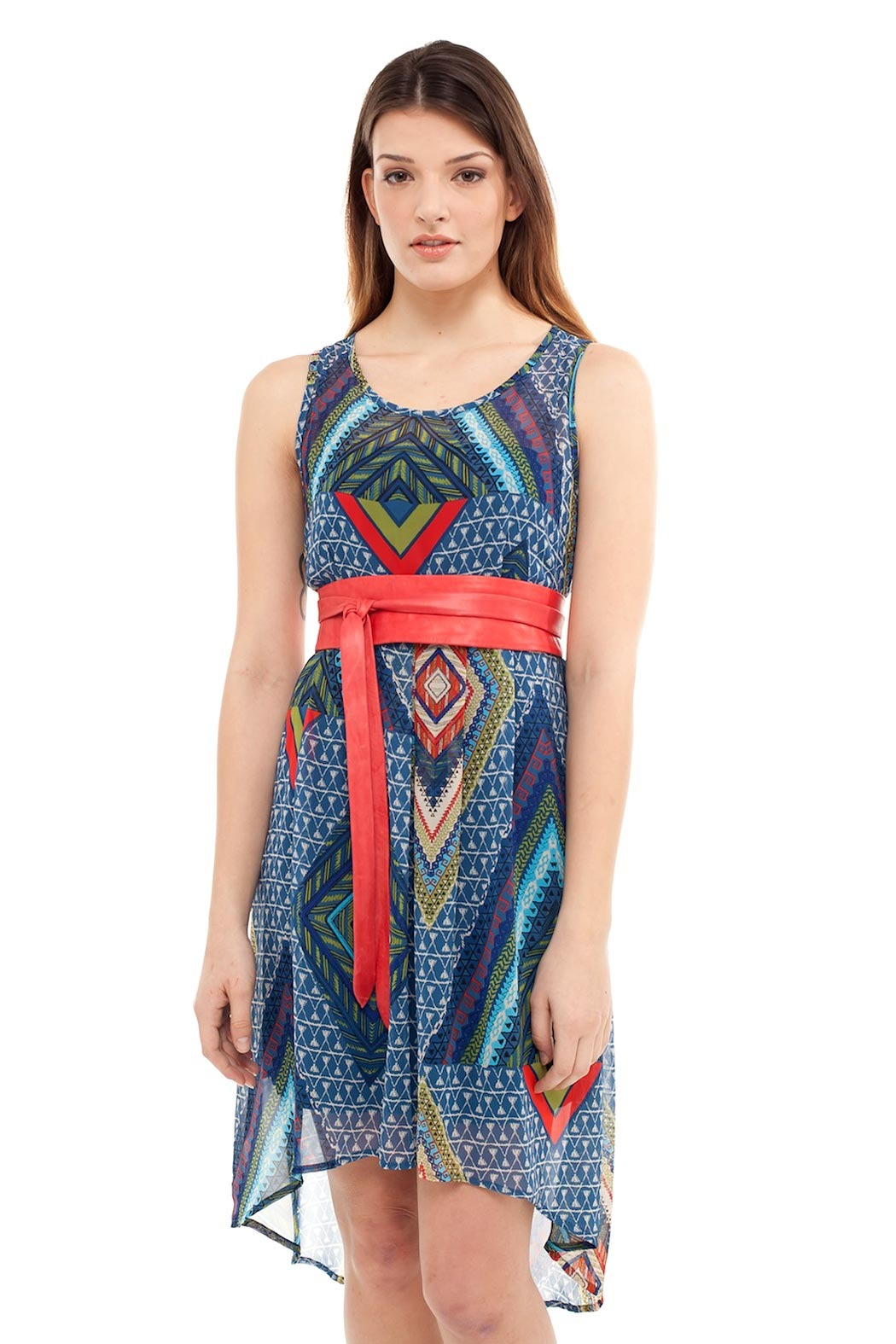 Yellow House Aztec Print Dress - Front Cropped Image