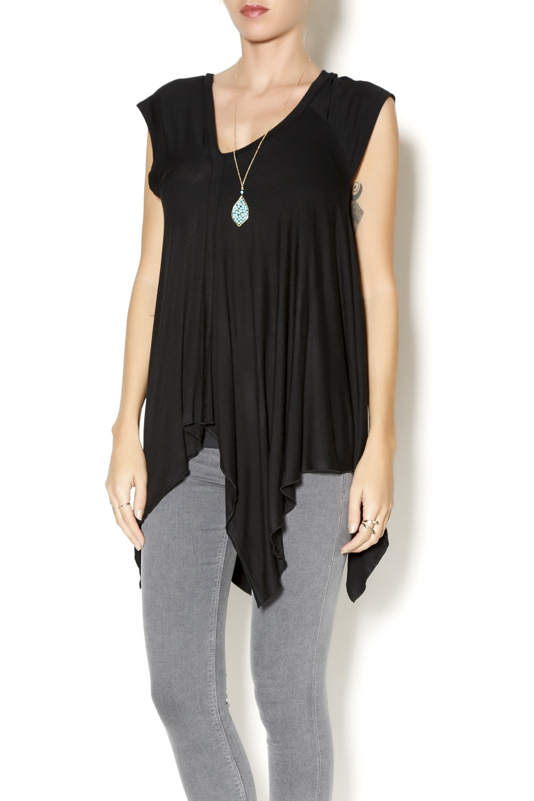 Clea Ray Handkerchief Hem Top - Front Cropped Image