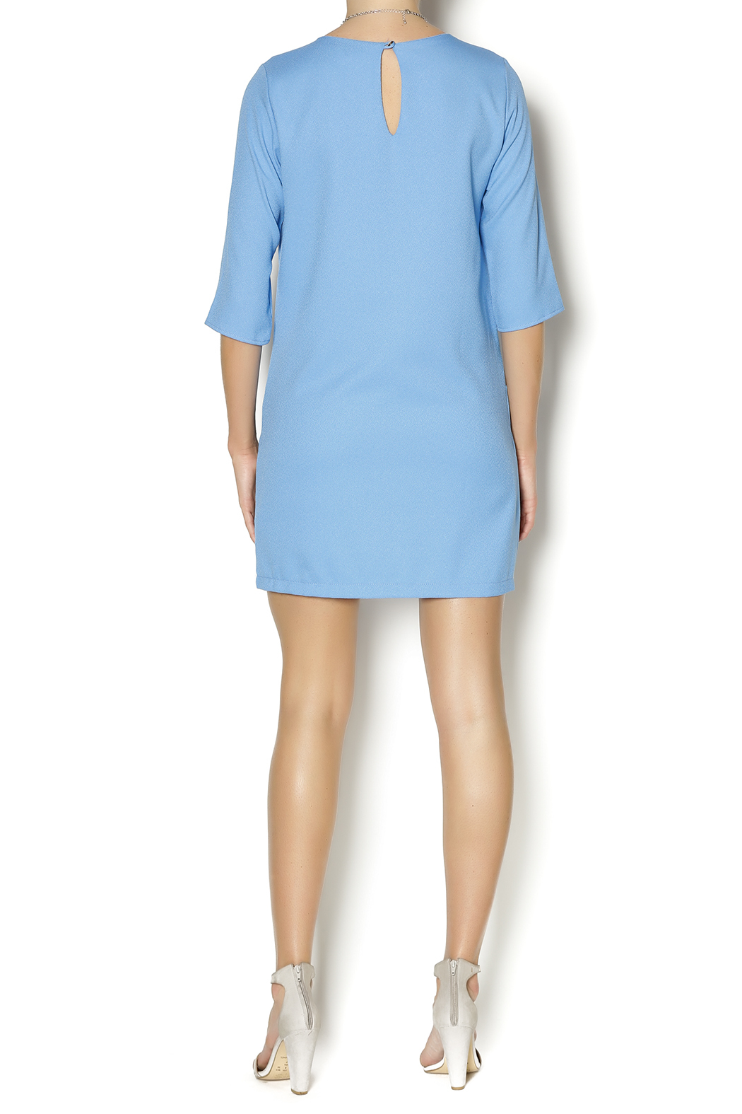 Everly Blue Shirt Dress - Side Cropped Image
