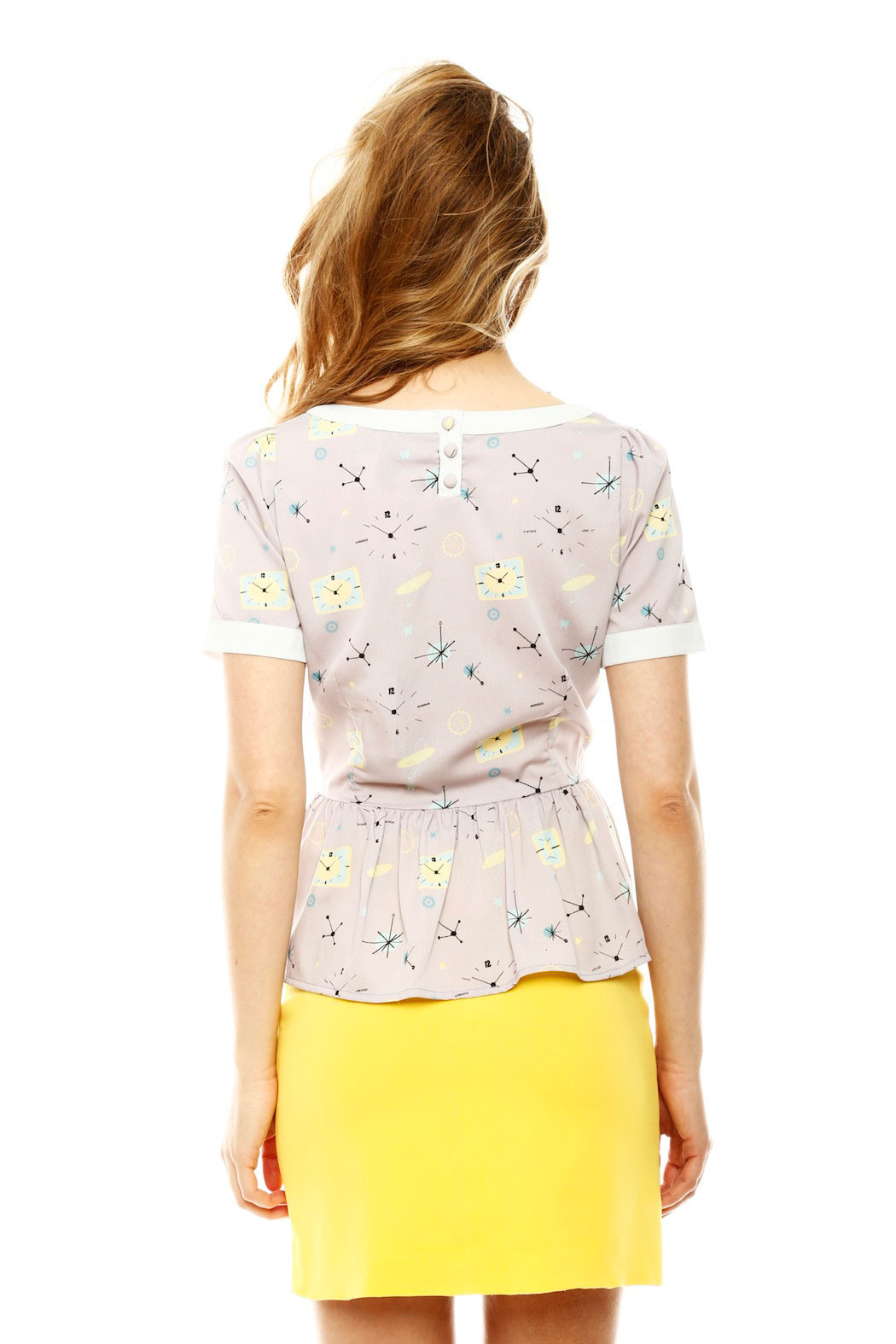 Yumi Atomic Peplum Blouse - Back Cropped Image