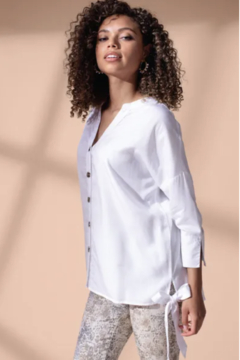 Tribal  4623O-1613-3/4 SLV BLOUSE W/SIDE TIE-WHITE - Product List Image