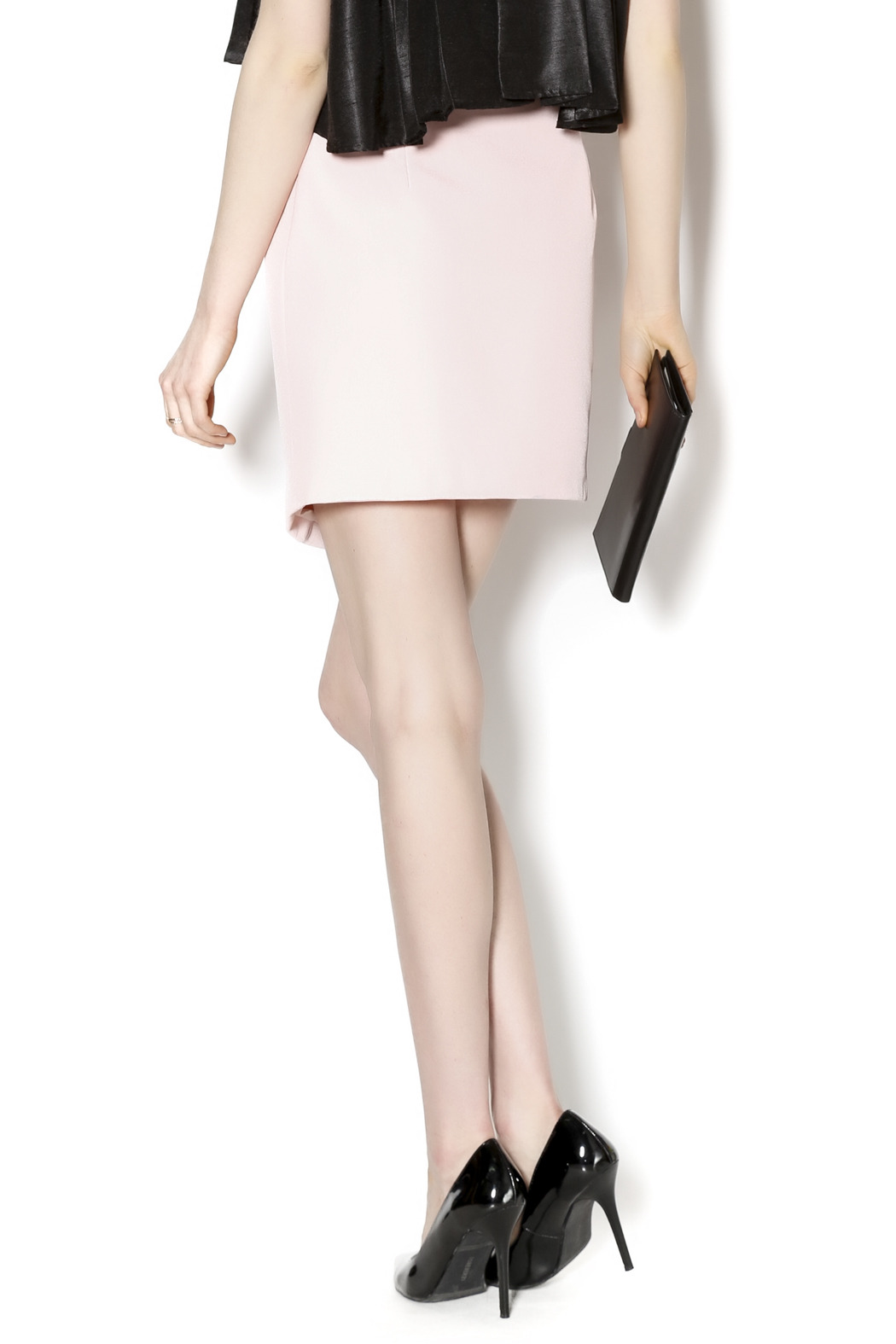 C/MEO COLLECTIVE Soft Pink Moto Skirt - Back Cropped Image