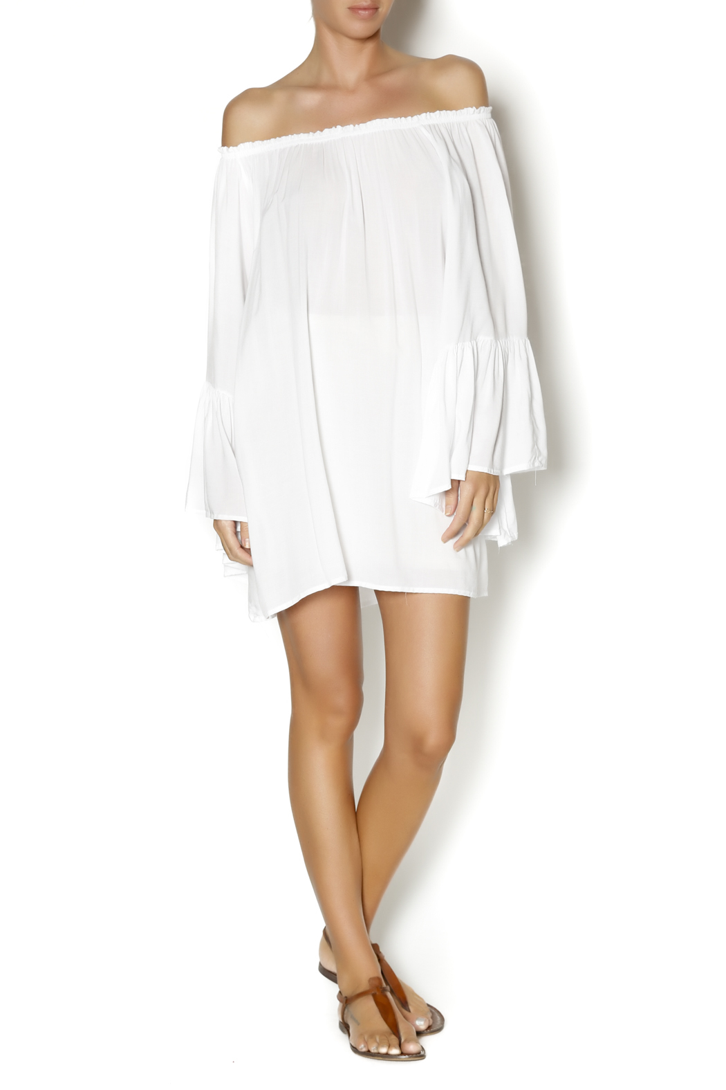 Elan White Boho Top - Front Full Image