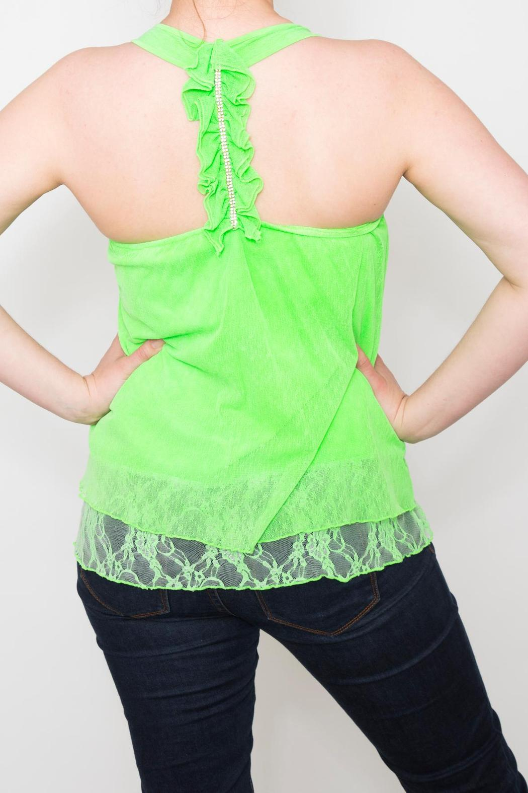 Free Style Lime Ruffle Tank - Front Full Image
