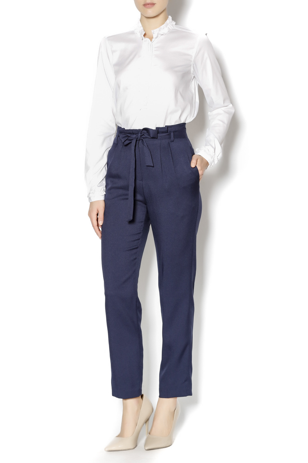 Pinkyotto Navy High Waisted Tie Pants - Front Full Image