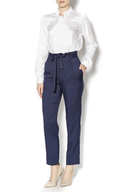 Pinkyotto Navy High Waisted Tie Pants - Front full body