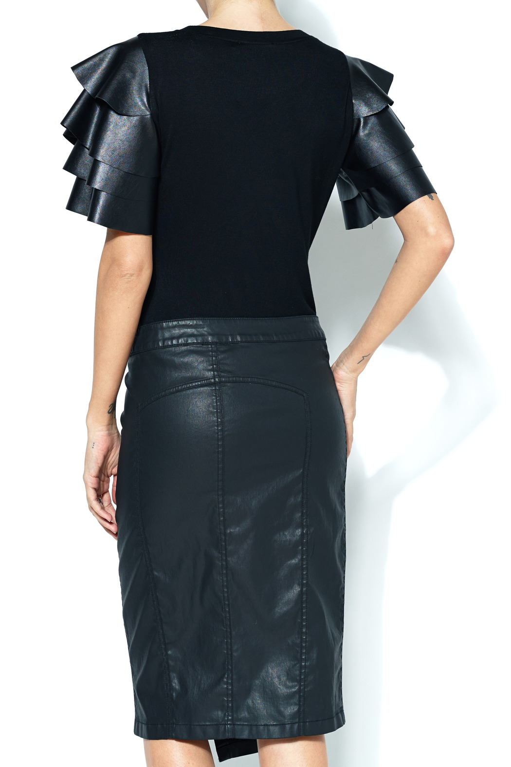Gracia Ruffle Faux Leather Top From New York By Next