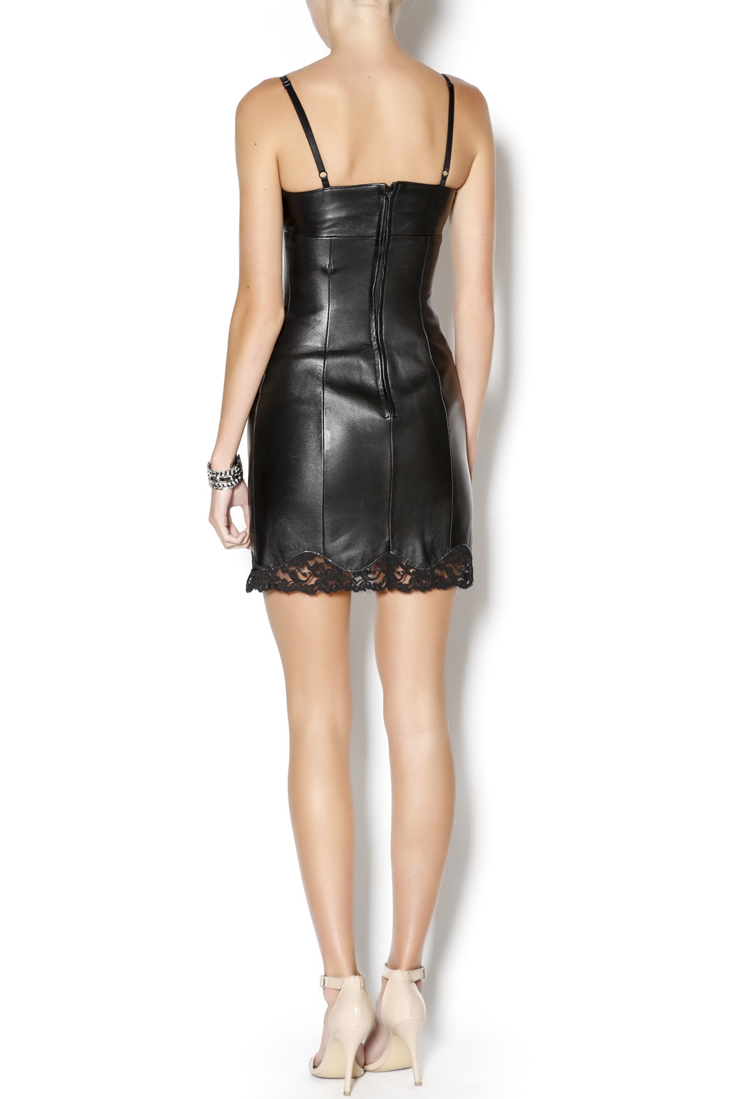 West Coast Leather Sweetheart Lace Leather Dress - Side Cropped Image
