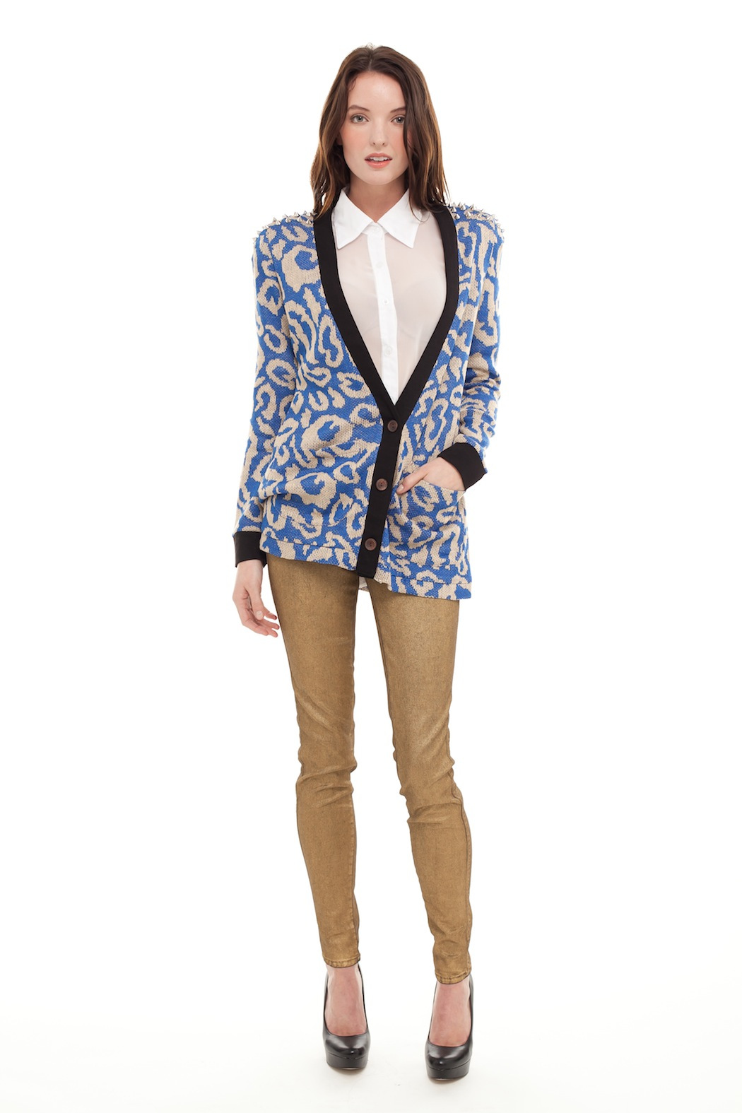 reverse  Printed Cardigan With Spikes - Front Full Image