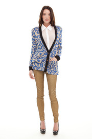reverse  Printed Cardigan With Spikes - Front full body