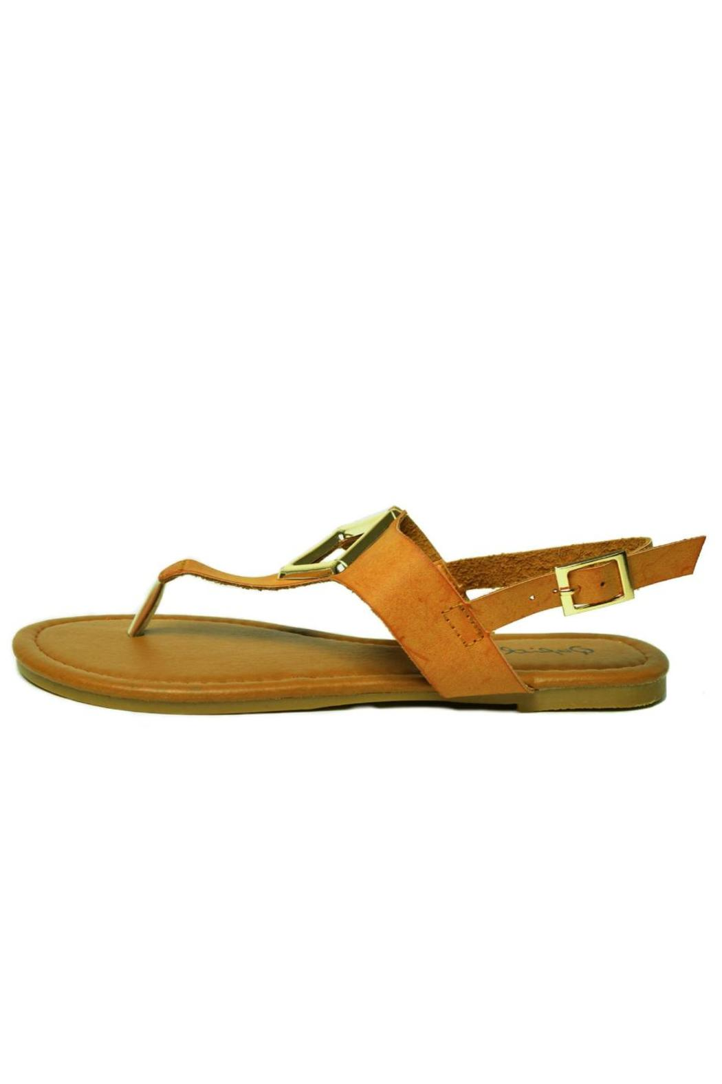 Qupid T-Strap, Metallic Ornament-Sandal - Main Image