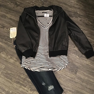 Unknown Factory Black Hooded Faux Leather Bomber Jacket - Instagram Image