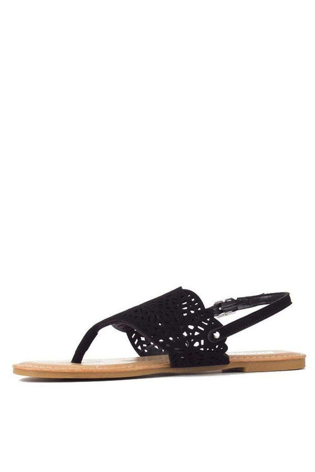 Bamboo Cut-Out Ankle-Strap Flat-Sandal - Side Cropped Image