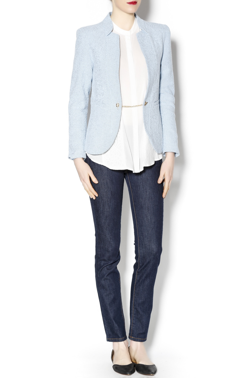 Lucy & Co. Powder Blue Blazer - Front Full Image