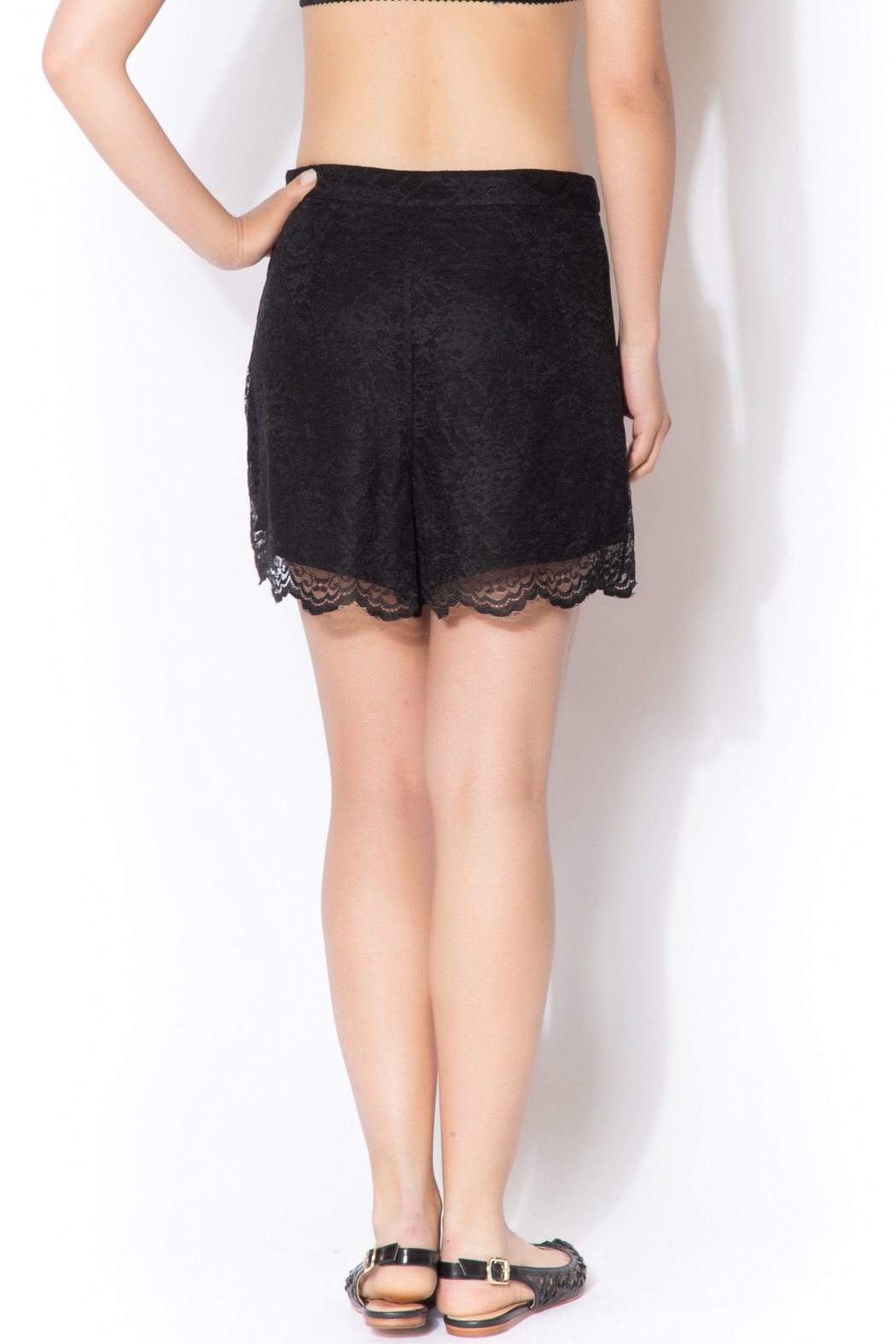 CCH Collection Lace Black Shorts - Back Cropped Image