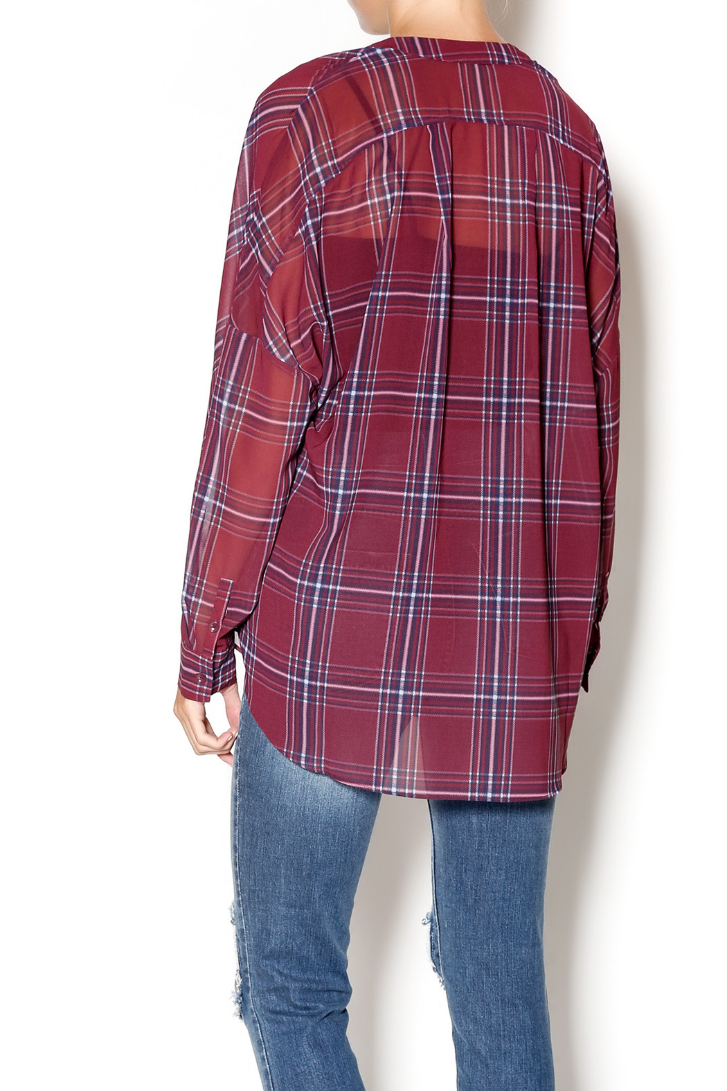 Gentle Fawn West Plaid Blouse - Back Cropped Image