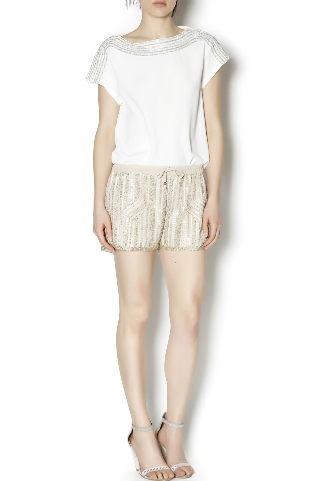 Wish Collection Sequin Track Shorts - Front Full Image
