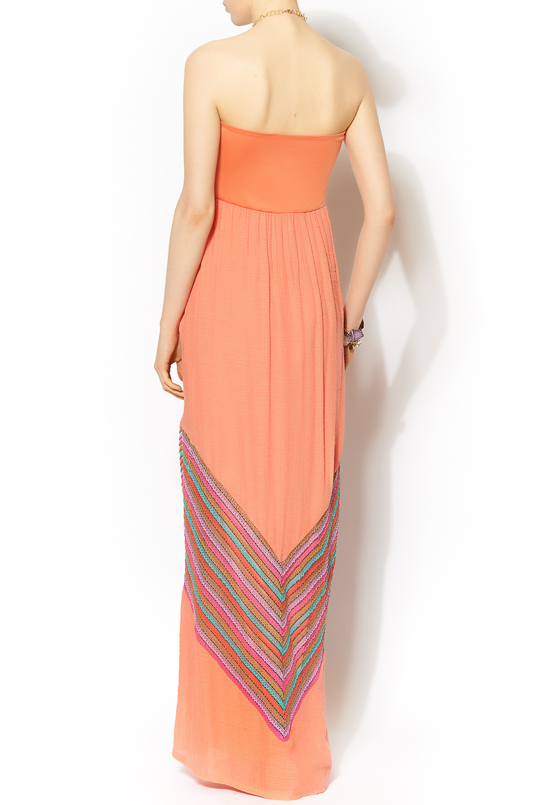 Missy Robertson Coral Chevron Detail Maxi - Front Full Image