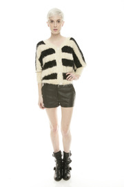 Shoptiques Product: Fuzzy Stripe Sweater - Front full body