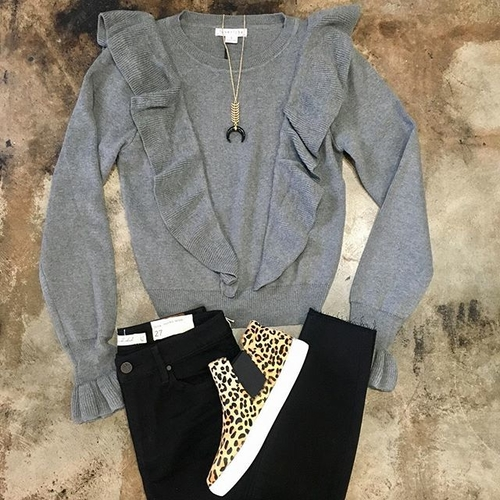 Unknown Factory Grey Ruffle Sweater - Main Image