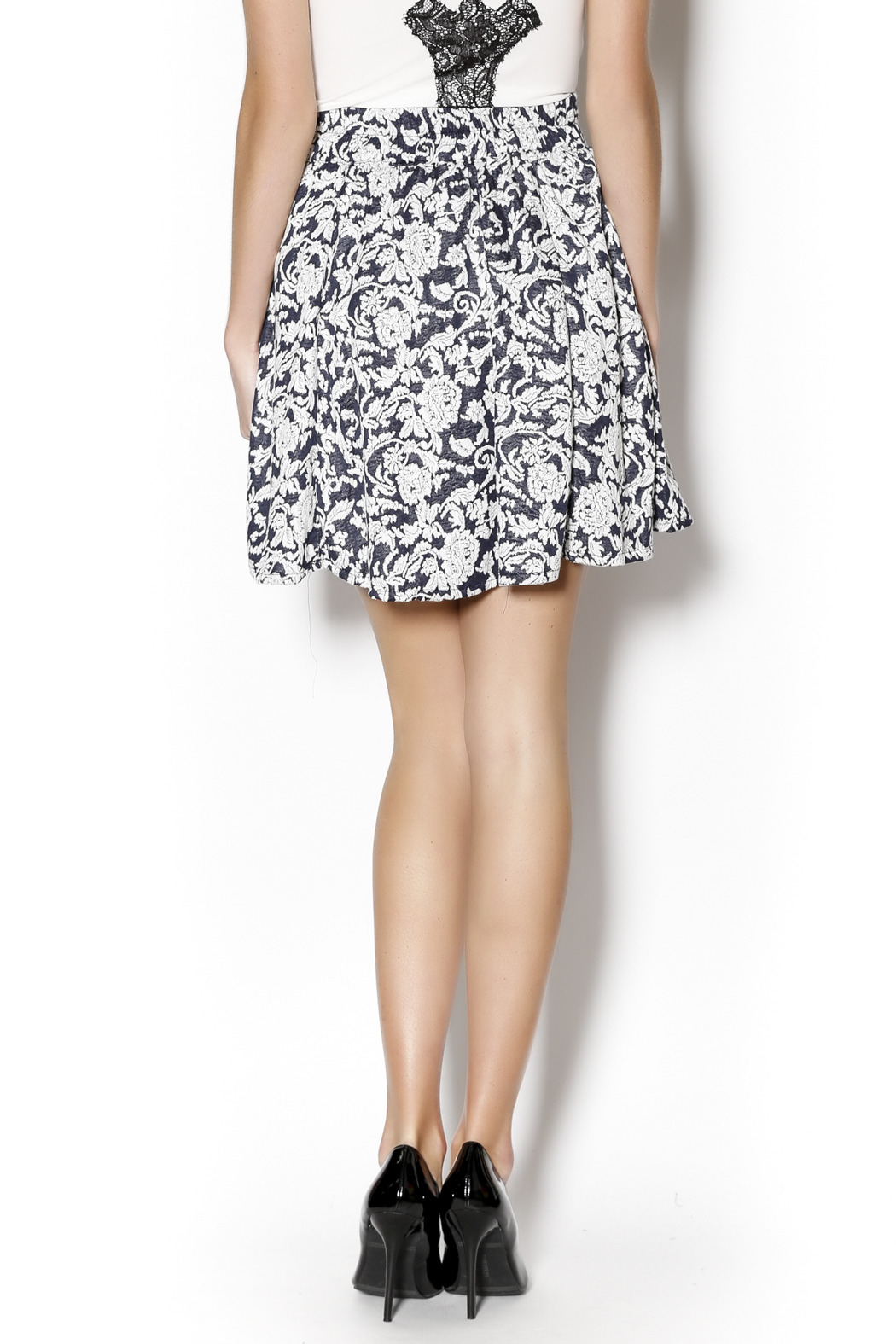Angie Floral Swing Skirt - Back Cropped Image
