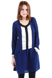 Shoptiques Product: Long Sleeve Blue Silk Dress
