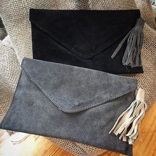 Shoptiques Grey Suede Tassel Clutch