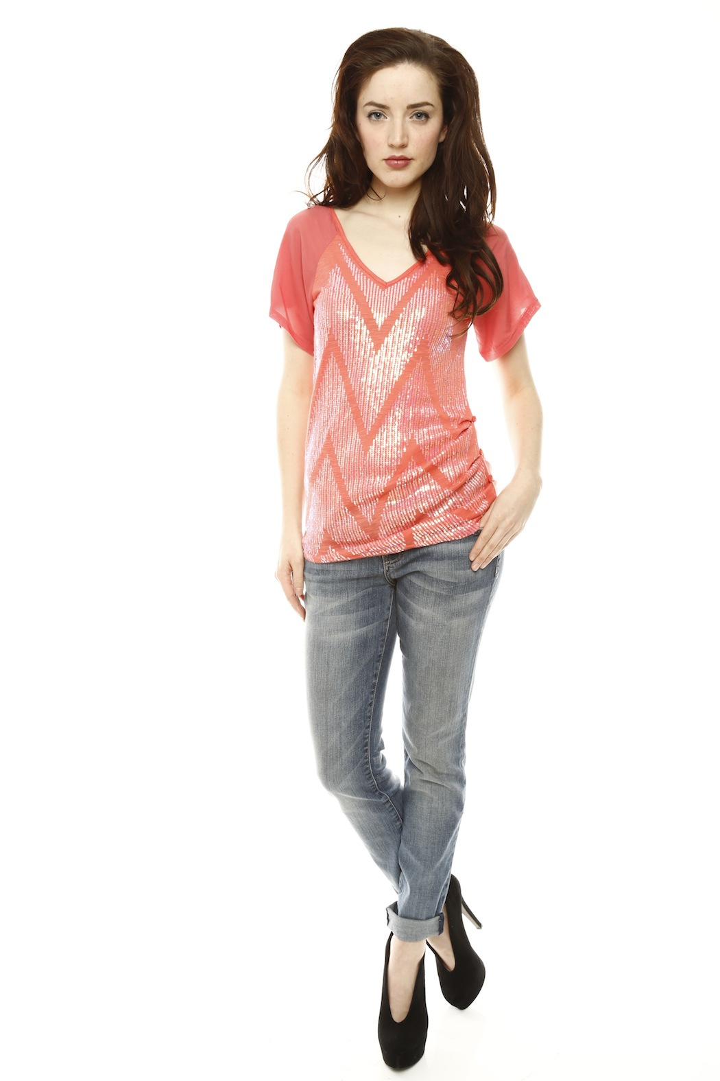 Miss Me Short Sleeve Sequin Top - Front Full Image