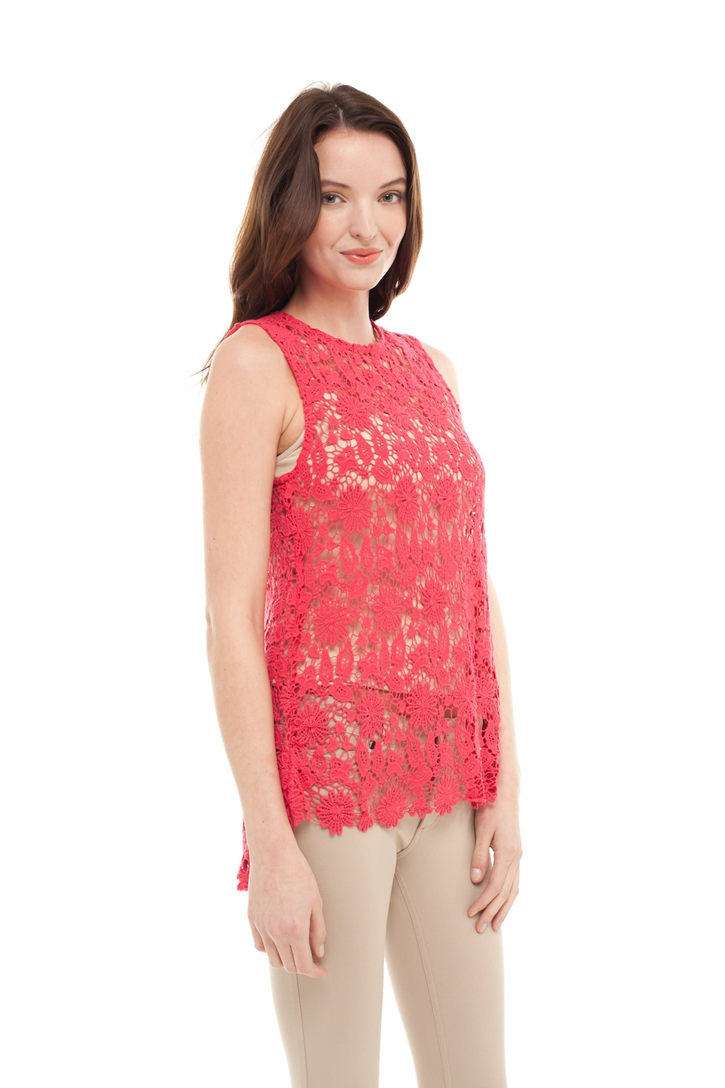 Alison Stiles Lace Crochet Knit Top - Side Cropped Image