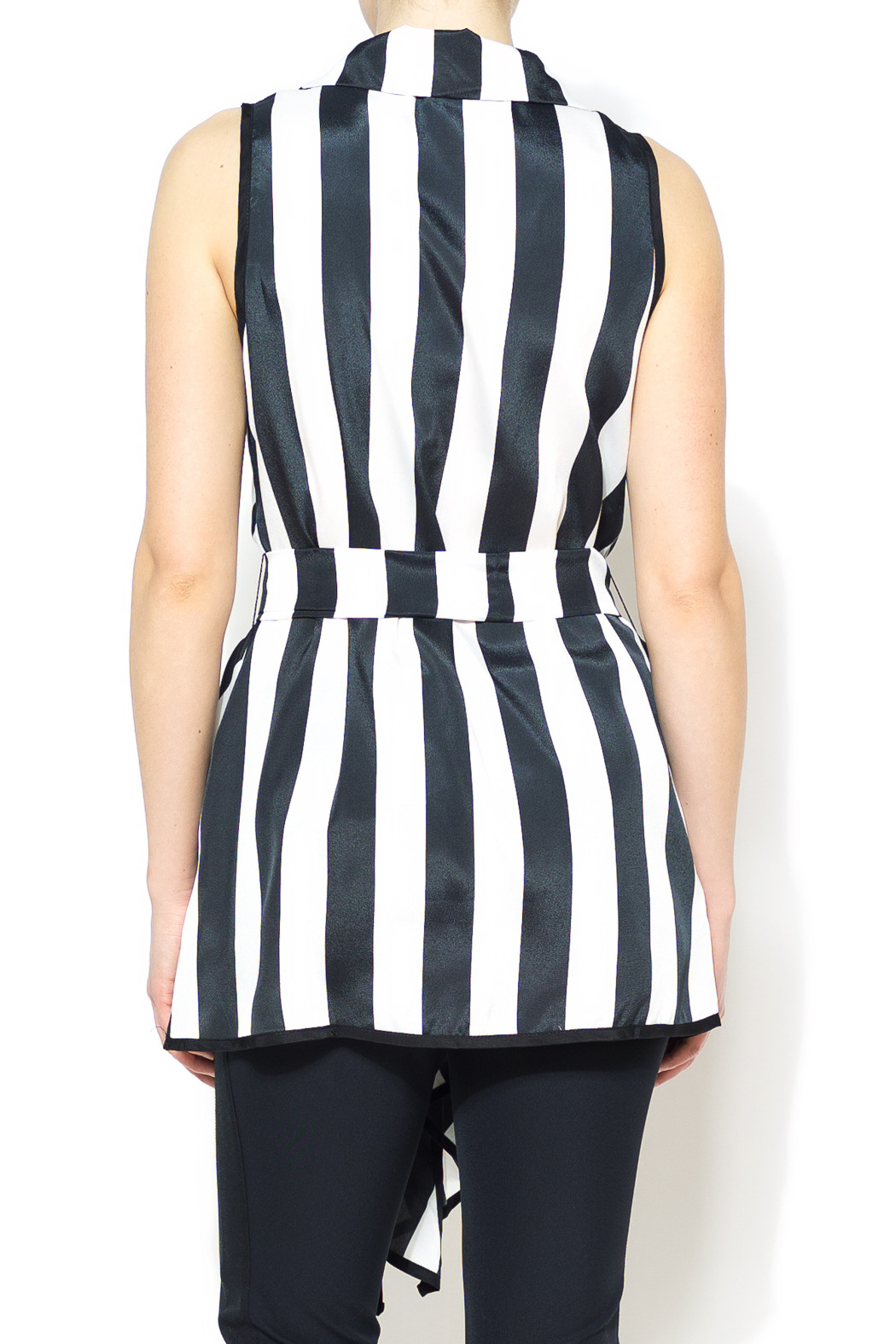 Nico LA Striped Belted Top - Back Cropped Image