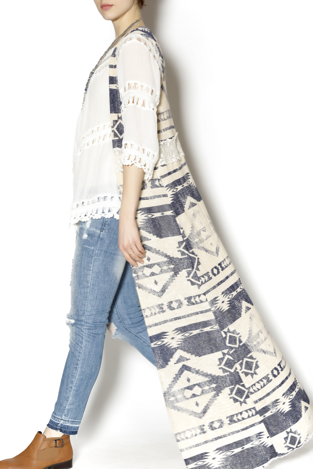 Ambiance Long Aztec Lace Duster - Front Full Image