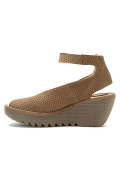 Fly London Khaki Perforated Wedge - Product List Image