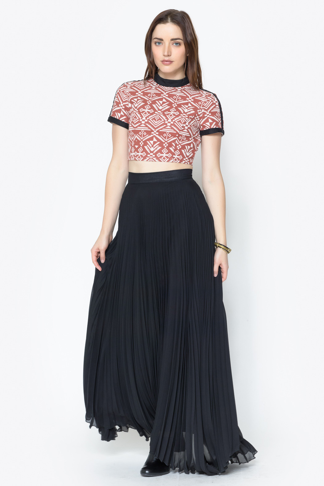 See You Monday Accordian Pleat Maxi Skirt - Front Full Image