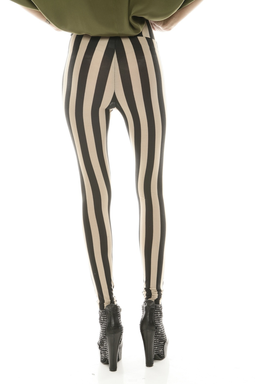 See You Monday Striped Leggings - Back Cropped Image