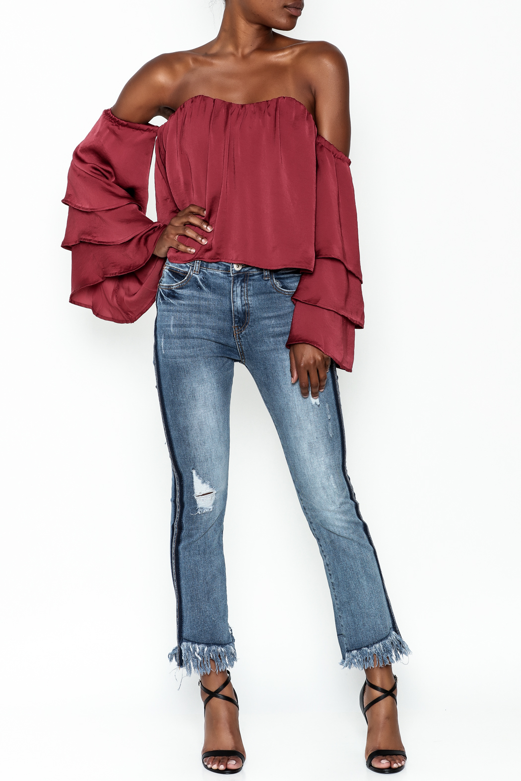 4Sienna Tiered Sleeve Satin Top - Side Cropped Image