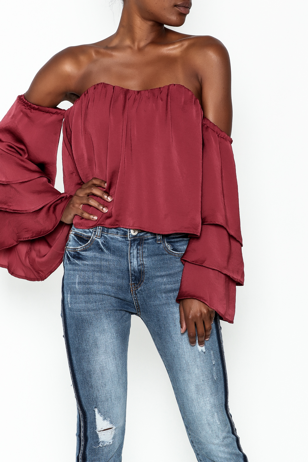 4Sienna Tiered Sleeve Satin Top - Front Cropped Image