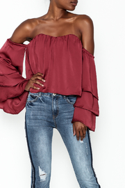 4Sienna Tiered Sleeve Satin Top - Front cropped