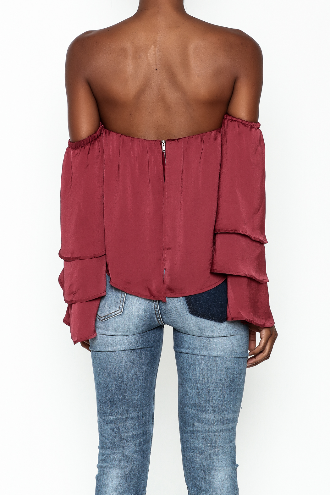 4Sienna Tiered Sleeve Satin Top - Back Cropped Image