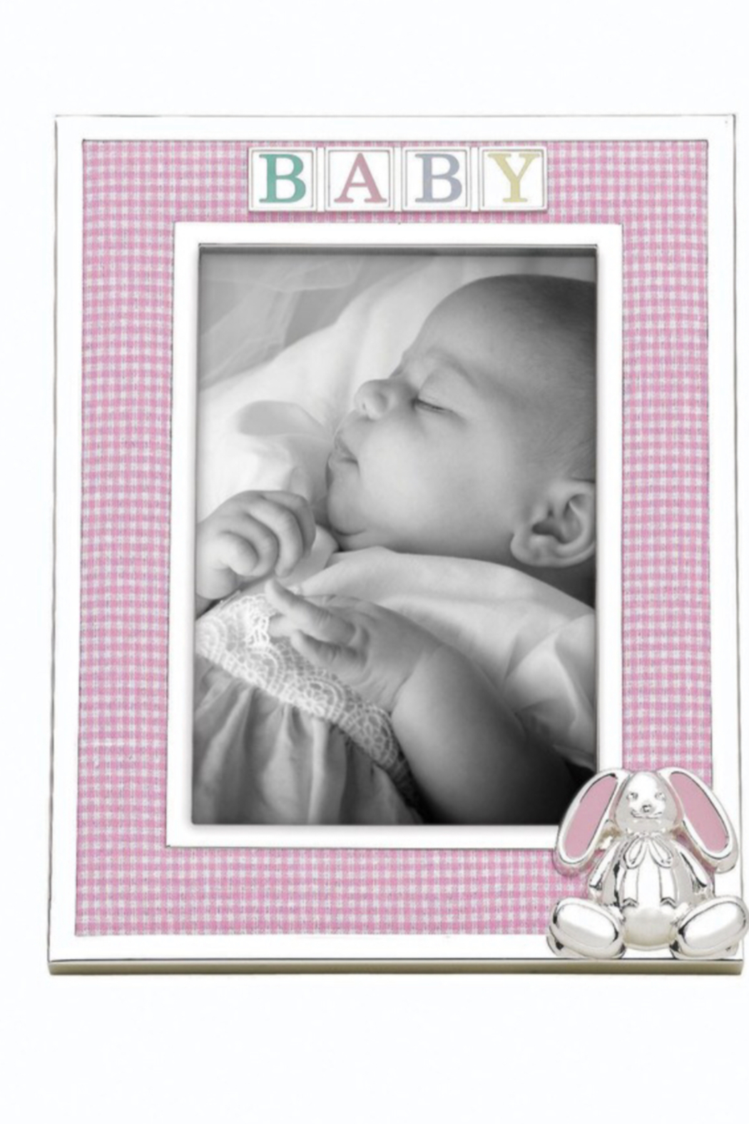 Reed and Barton 4x6 Gingham Bunny Baby Frame - Main Image