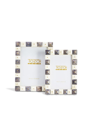 Two's Company 4x6 Gray and White Photo Frames with Gold Studs - Product Mini Image