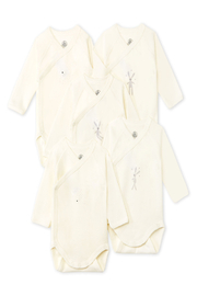 Petit Bateau  5 PK LONG SLEEVE CROSSOVER BODYSUITS - Front cropped