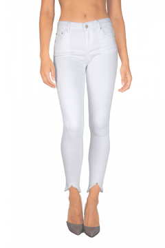 Tractr 5 Pocket Triangle Hem White Jeans - Product List Image