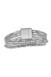 Accessorizit Inc. 5 Row Metal Nugget Bead Magnetic Clasp Matte Silver - Product Mini Image
