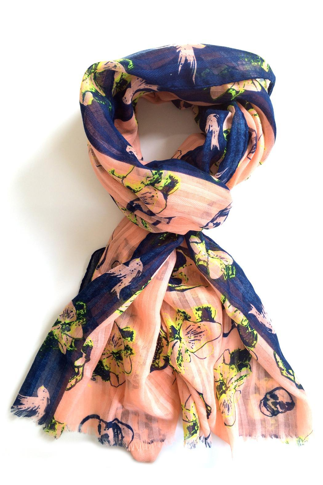 Blu Lua Hibiscus & Skull Scarf - Front Cropped Image
