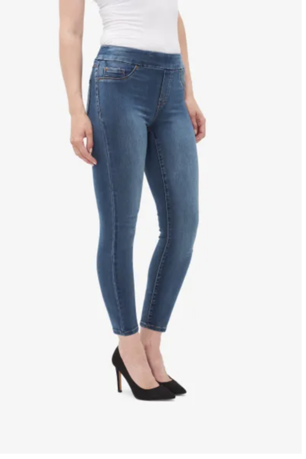 Tribal  5056O-1385-PULL-ON ANKLE JEGGING-NAVY B. - Front Full Image